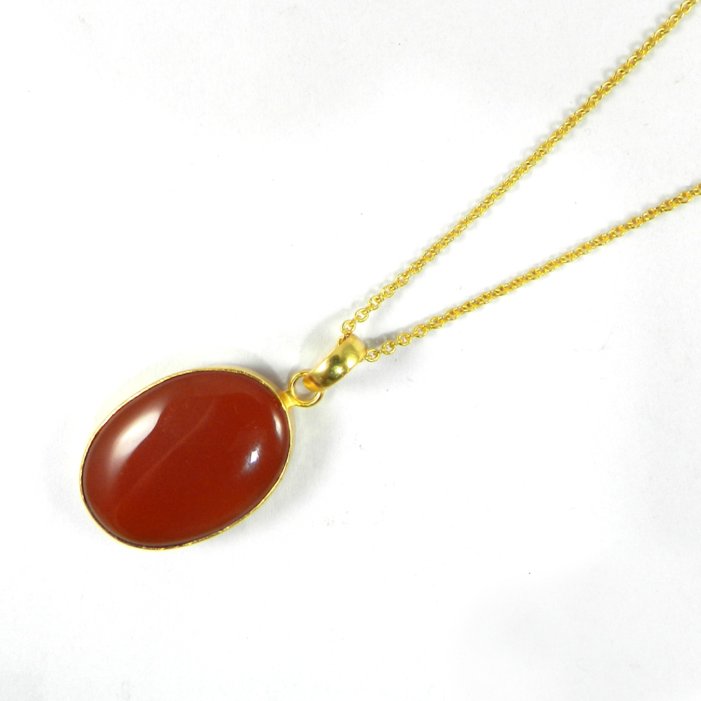 Red Onyx Oval 41mm 18k Gold Plated Bezel Pendant