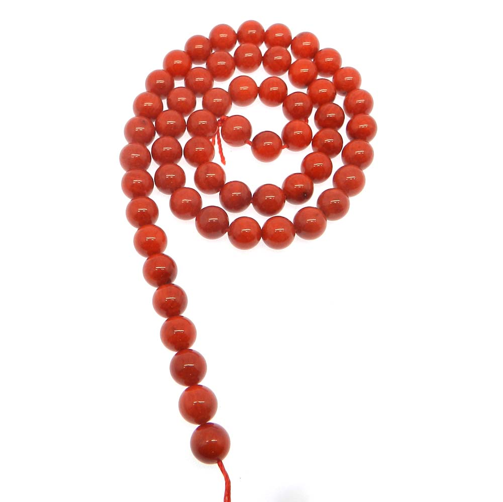 Red Taiwan Coral 7.5mm Round Smooth 16 inch Strand Beads