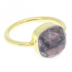 Rhodochrosite 11x11mm Cushion 925 Silver With Gold Plated Bezel Set Ring