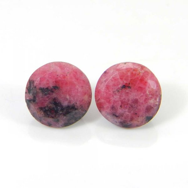 Rhodonite 10x10mm Round Faceted Cut 5.90 Cts