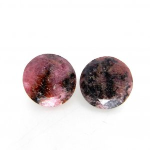 Rhodonite 12x12mm Round Faceted Cut 7.65 Cts