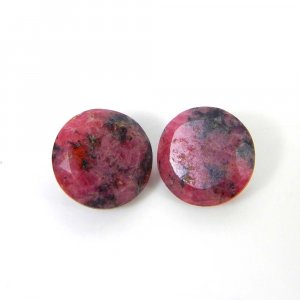 Rhodonite 12x12mm Round Faceted Cut 8.10 Cts