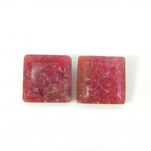 Rhodonite 12x12mm Square Baguette Cut 9.7 Cts