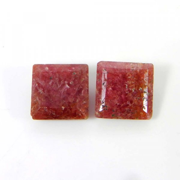Rhodonite 12x12mm Square Faceted Cut 8.70 Cts