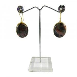 Rhodonite 18k Gold Plated Bezel Setting Earring