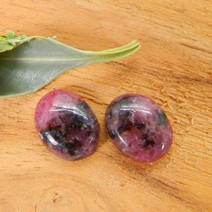 Rhodonite 9x7mm Oval Cabochon 2.15 Cts