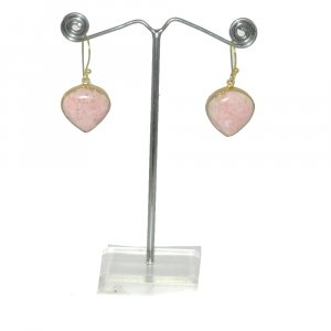 Rhodonite Gemstone 18k Gold plated Bezel Earring