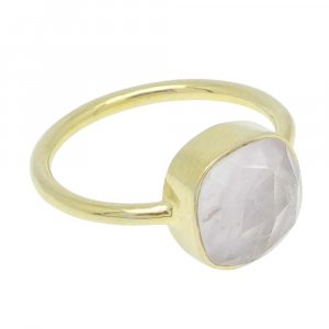 Rose Quartz 10x10mm Cushion 925 Silver With Gold Plated Bezel Set Ring