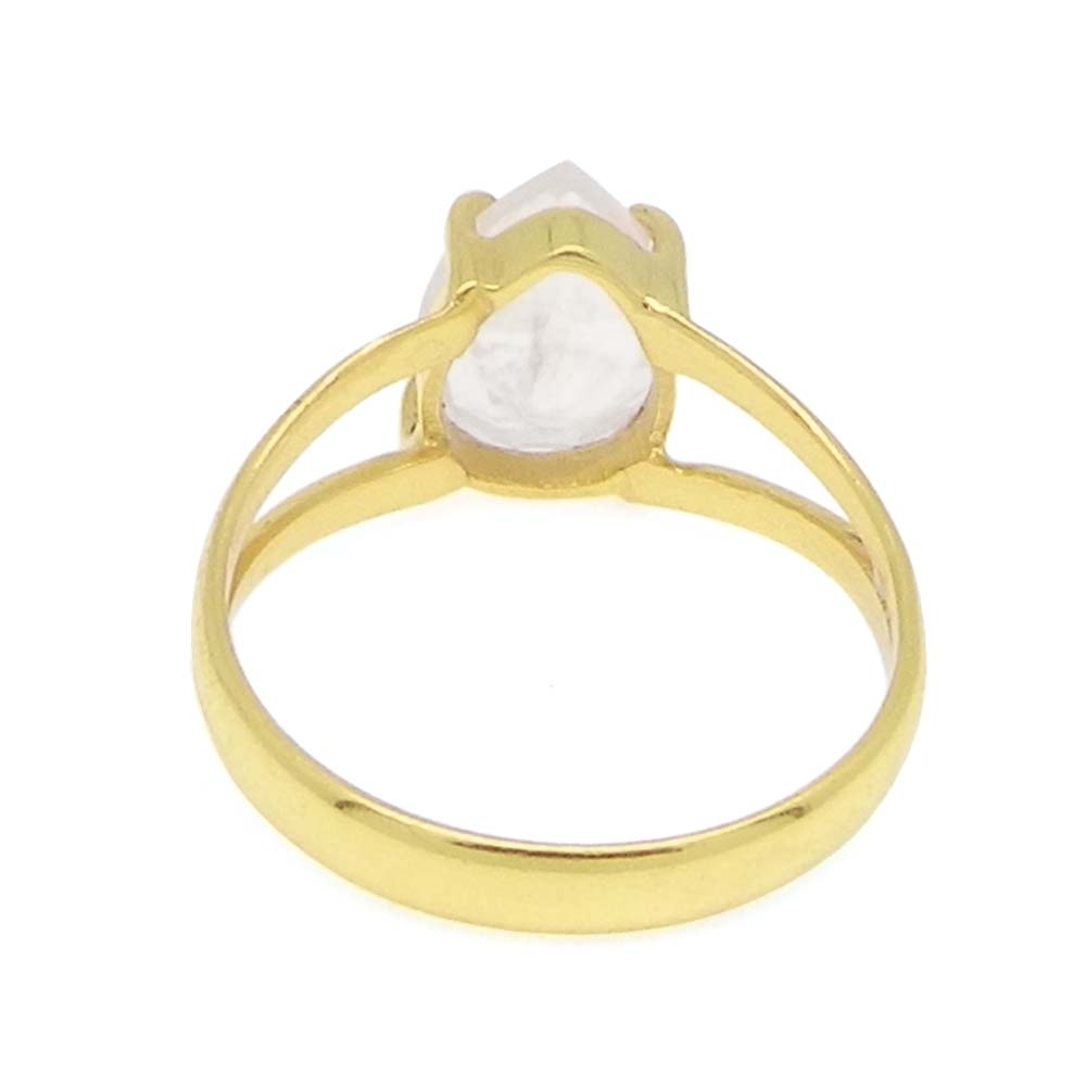 Rose Quartz 10x7mm Pear 18k Gold Plated Silver Prong Set Ring