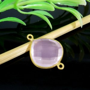 Rose Quartz 21x15mm Heart 925 Sterling Silver Gold Plated Double Loop Connector