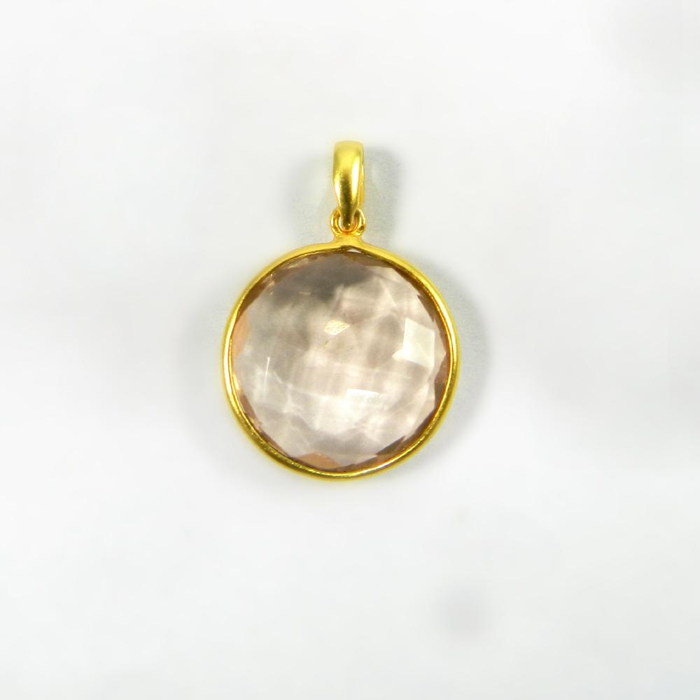 Rose Quartz 31mm 18k Gold Plated Bezel Pendant