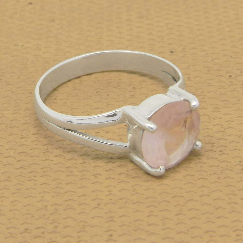 Rose Quartz 8mm Round 18k Gold Plated and 925 Sterling Silver Prong Set Ring
