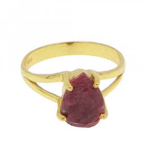 Ruby Corundum 10x7mm Pear 18k Gold Plated Silver Prong Set Ring