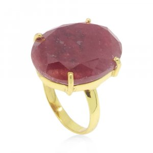 Ruby Corundum 20x15mm Oval 18k Gold Plated Silver Prong Set Ring