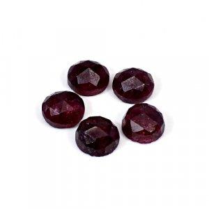 Ruby Corundum 28.85 Cts Round Rose Cut 5 Pcs Lot 10mm Loose Gemstone
