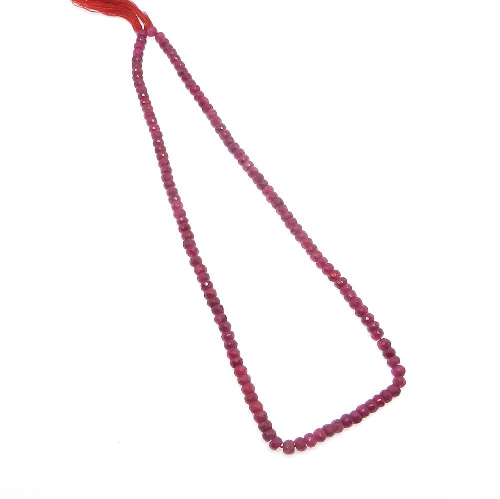 Ruby Corundum 4mm Roundel Facet 14 inch Strand Beads