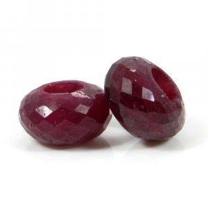 Ruby Corundum Big Hole Roundel Faceted Beads 14x8x5.5mm