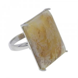 Sagenite Agate 22x17mm Rectangle 925 Silver Prong Set Ring