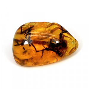 Scorpio Amber Uneven Tumble 50x32mm 91.35 Cts Drilled Gemstone For Pendant Making