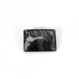 Semi Precious Gemstone Black Ruitle Quartz 20x14mm Rectangle Checker Cut 16.40 Cts