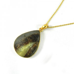 Septarian 46mm 18k Gold Plated Bezel Pendant With Chain