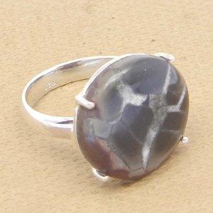 Septarian Jasper 17mm Round 925 Silver Prong Set Ring