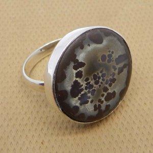 Septarian Jasper 21x21mm Round 925 Sterling Silver Bezel Set Designer Ring