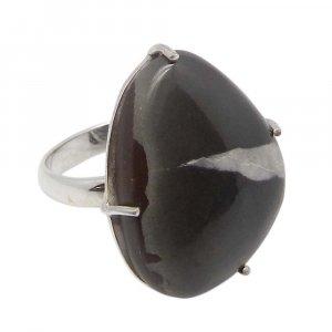 Septarian Jasper 24x19mm Fancy 925 Silver Prong Set Ring