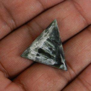 Seraphinite 23x20mm Triangle Cabochon 12.40 Cts