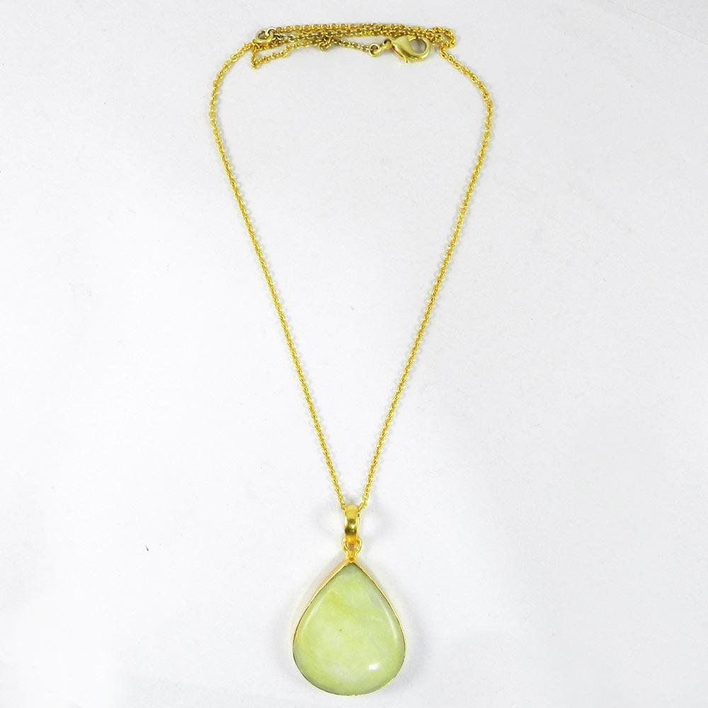 Serpentine 45mm 18k Gold Plated Bezel Chain Pendant
