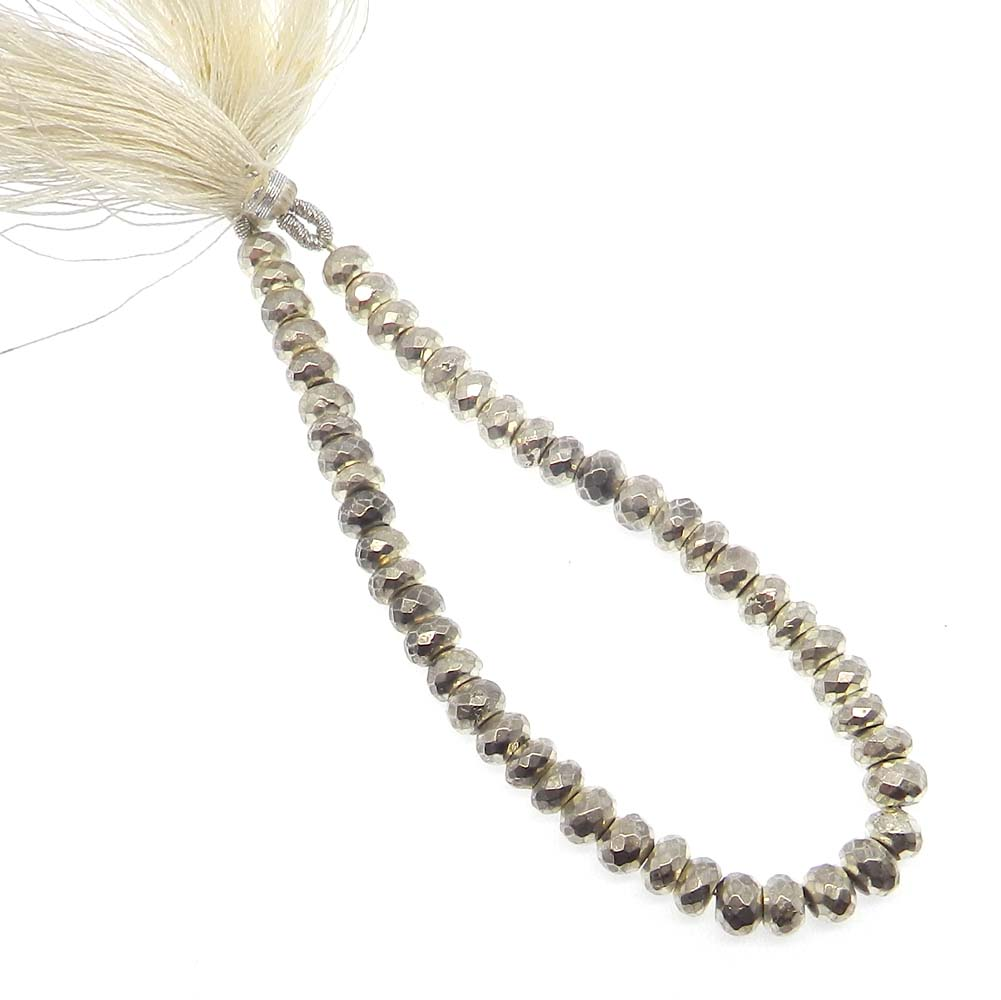 Silver Pyrite 7mm Roundel Facet 8 inch Strand Beads