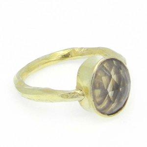 Smoky Quartz 11x9mm Oval 925 Silver Bezel Set Ring