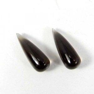 Smoky Quartz 16x6mm Drop Beads Cabochon 3.25 Cts
