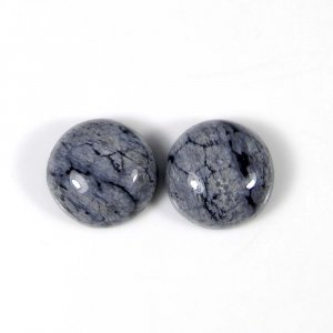 Snowflake Obsidian 12x12mm Round Cabochon 5.90 Cts