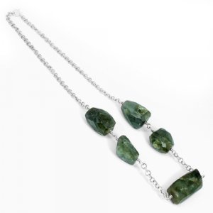 Solid 925 Sterling Silver Labradorite Fancy Beads Chain Necklace 18 Inch 47.23 Grams