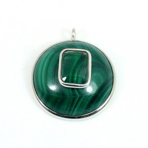 Solid 925 Sterling Silver Malachite, Crystal Single Loop Connector  Round 22x20 mm 5.30 gm