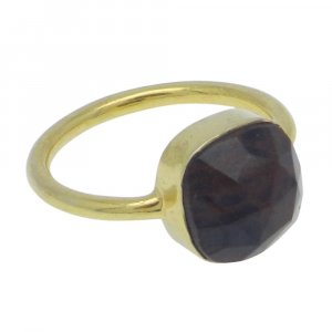 Spider Web Jasper 10x10mm Cushion 925 Silver With Gold Plated Bezel Set Ring