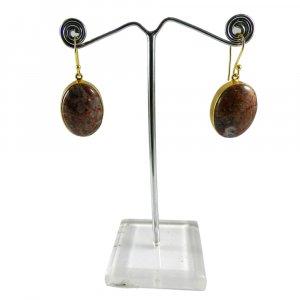 Strawberry Jasper 18k Gold Plated Bezel Earring