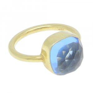 Swiss Blue Topaz Hydro 10x10mm Cushion 925 Silver Bezel Set Ring