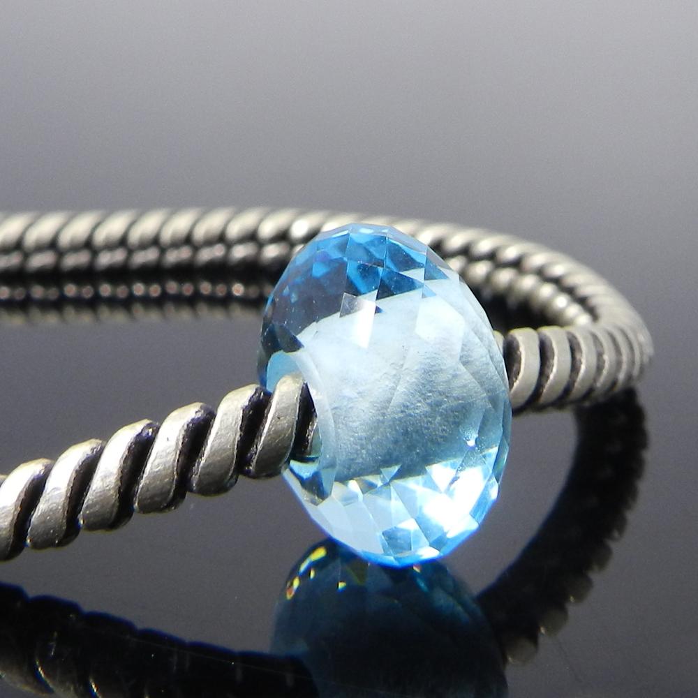 Swiss blue topaz hydro 14x8x4.5mm Roundel Facet Beads