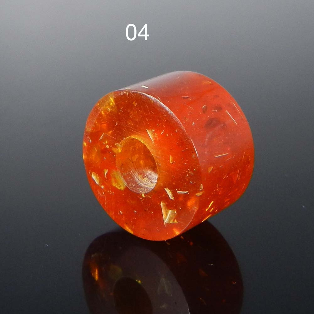 Synthetic Amber 14x8x4.5mm Round Flat Beads