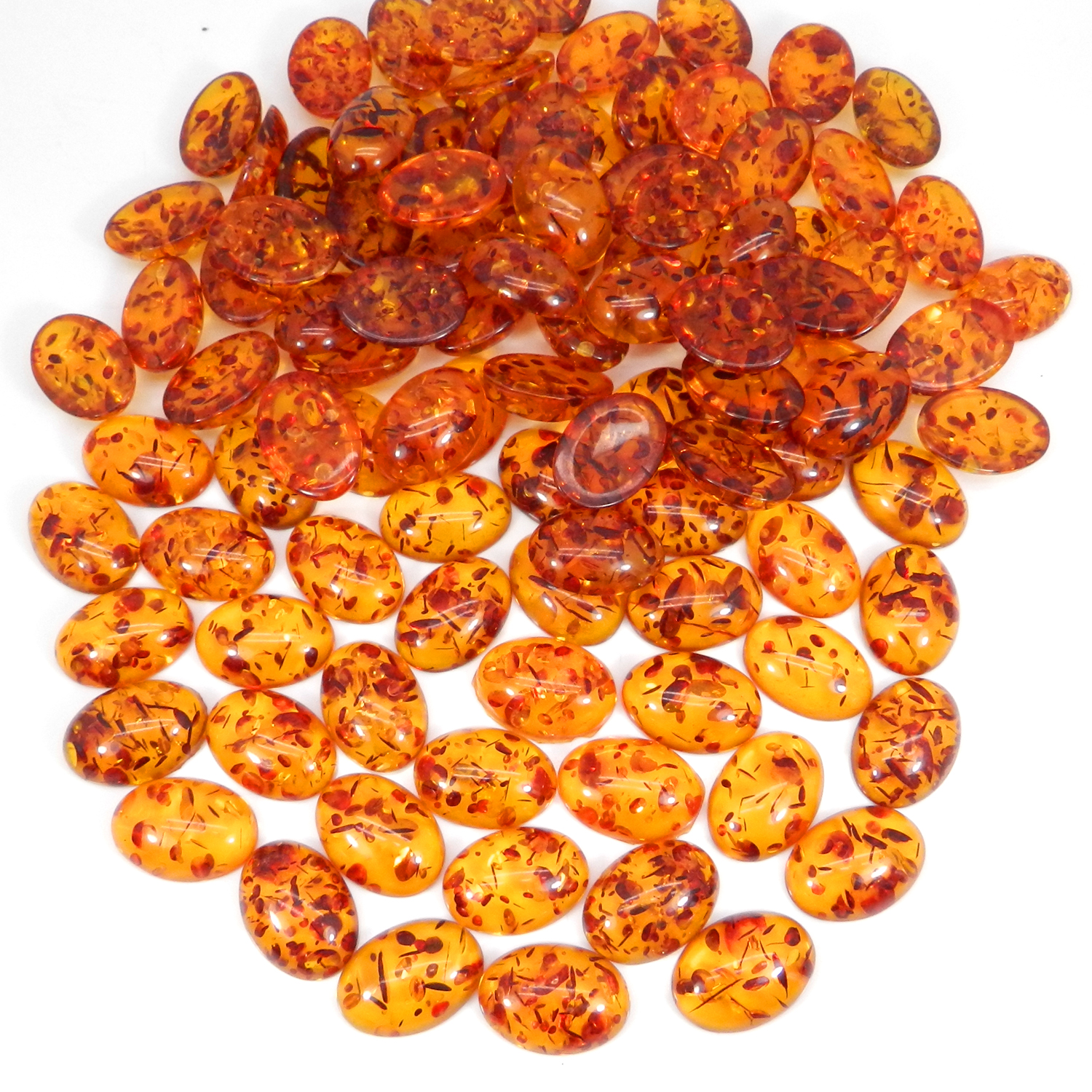 Synthetic Amber 16x12mm Oval Cabochon 5.00 Cts
