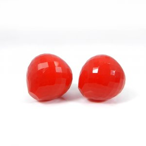Synthetic Coral Onion Checker Cut 16mm Round 27.10 Cts