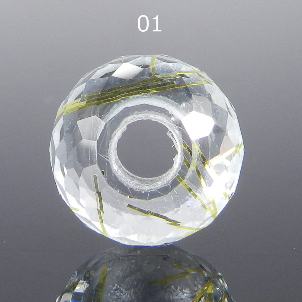Synthetic Golden rutile quartz 14x8x4.5mm Roundel Facet Beads