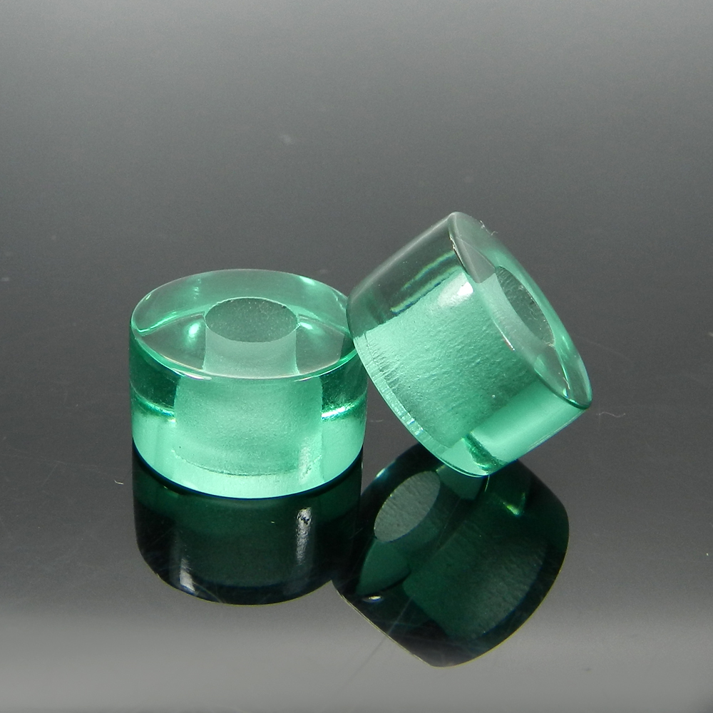 Synthetic Green Hydro 14x8x5mm Round Flat Beads
