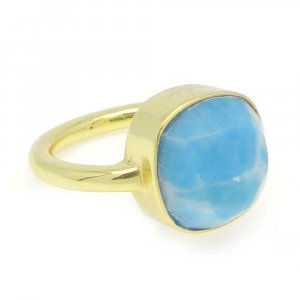 Synthetic Larimar 11x11mm Cushion 925 Silver With Gold Plated Bezel Set Ring