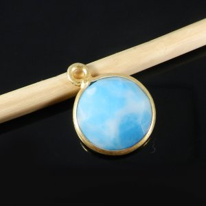 Synthetic Larimar 17x13mm Round 925 Sterling Silver Gold Plate Double Loop Connector