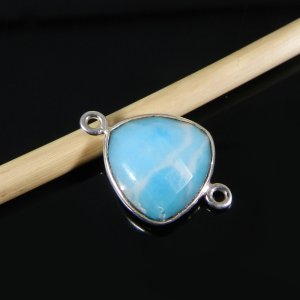 Synthetic Larimar 19x13mm Trillian 925 Sterling Silver Double Loop Connector