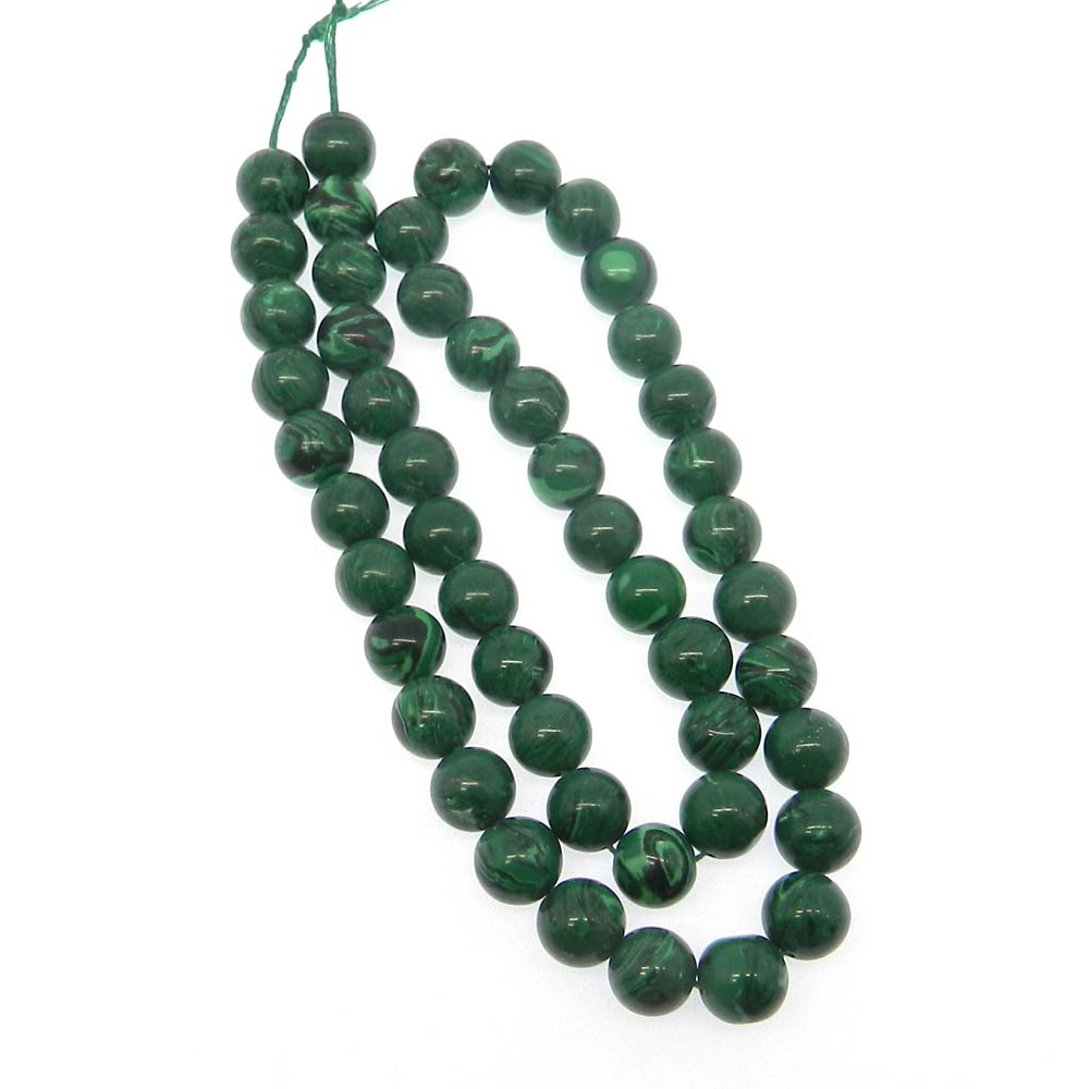 Synthetic Malachite 8.5mm Round Smooth 16 inch Strand Beads
