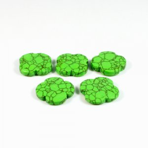 Synthetic Mohave Turquoise Clover Flat 15x15mm 6.80 Cts 5 Pcs Loose Gemstone